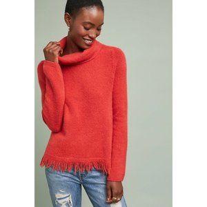 Anthropologie NWOT Fringe Turtleneck Sweater Red